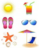 Beach Set From Chaise Lounge, Sunglasses, Beach Umbrella, Sea Animals, Beach Footwear And  Sun