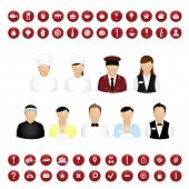 Restaurant People Icons And Map Icons Set, Isolated On White Background