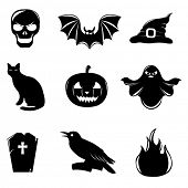 9 Black Halloween Icons, Isolated On White Background, Vector Illustration