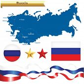 Russian Federation Set, Russia Map (CIS-Commonwealth of Independent States) With Flag, Badge And Sta