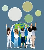 Diverse kids spreading environmental awareness poster