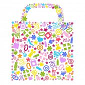 Bag For Shopping With Icons, Isolated On White Background, Vector Illustration