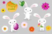 3 Rabbits With Egg, Balloon And Fower, Happy Easter Greeting Card