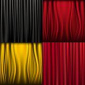 4 Silk Curtains, Vector Illustration