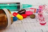 Close Up Picture Of Medical Drugs And A Syringe On An Electrocardiogram Form poster