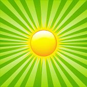 Bright Sunburst With Beams And Sun, Vector Illustration