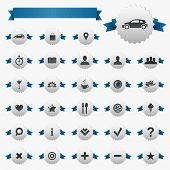 Web And Map Icons With Ribbons, Isolated On White Background, Vector Illustration