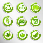 9 Eco Labels, Vector Illustration