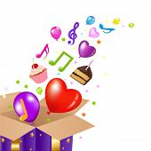 stock photo of happy birthday card  - Birthday Card With Box - JPG