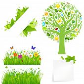 Green Grass With Flowers And Tree, Isolated On White Background, Vector Illustration