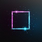 Neon Square Frame. Bright Blue And Violet Glowing Banner With Sparkles, Flares And Stars. Electric B poster