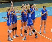 KAPOSVAR, HUNGARY - OCTOBER 23: Bekescsaba players before a Hungarian NB I. League woman volleyball