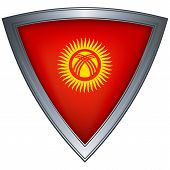 Steel shield with flag Kyrgyzstan