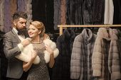 Business Meeting, Moneybags. Couple In Love Among Fur Coat, Luxury. Fashion And Beauty, Winter, Fur. poster