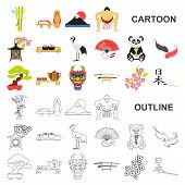Country Japan Cartoon Icons In Set Collection For Design.japan And Landmark Vector Symbol Stock Web  poster