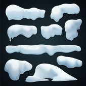 Snow Caps Vector Set. Realistic Snowdrift. New Year Winter Ice Elements Collection. poster