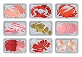 Packages With Fresh Meat, Seafood, Chicken Set, Food Plastic Trays Containers With Transparent Cello poster