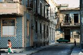 A view of crumbling buildings in Havana