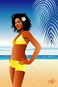 Vector illustration of hispanic beauty wearing bikini on tropical beach