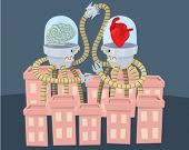 A robot with a brain and one with a heart fighting in a city.