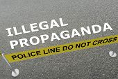 3d Illustration Of Illegal Propaganda Title On The Ground In A Police Arena poster