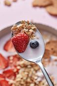 Close-up of spoon with fresh natural homemade morning breakfast with strawberries, milk dessert, oat poster