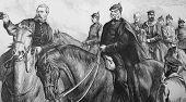 Постер, плакат: Король Пруссии и его генералы в франко прусской войны Гравированный анонимные гравера и publ