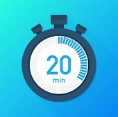 The 20 Minutes, Stopwatch Vector Icon. Stopwatch Icon In Flat Style, Timer On On Color Background.   poster