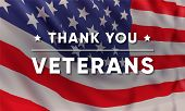 Vector Banner Design Template For Veterans Day With Realistic American Flag And Text: Thank You Vete poster