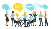 Vector Flat Style Illustration Of Business People Talk And Discussing Data. Social Networking Concep poster