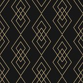 Vector Golden Geometric Texture. Elegant Seamless Pattern With Diamonds, Thin Lines. Abstract Black  poster