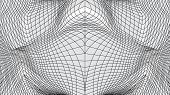 Distorted Surface. Abstract Wavy Twisted Distorted Lines Grid Net Black And White Texture. Geometric poster