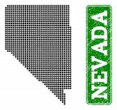 Dotted Map Of Nevada State And Rubber Caption. Vector Green Title Inside Rounded Rectangle And Uncle poster