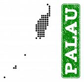 Dotted Map Of Palau Islands And Rubber Caption. Vector Green Title Inside Rounded Rectangle And Retr poster