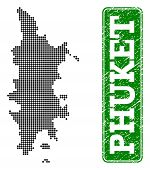 Dotted Map Of Phuket And Unclean Caption. Vector Green Title Inside Rounded Rectangle And Unclean Ru poster
