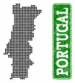 Dotted Map Of Portugal And Rubber Caption. Vector Green Title Inside Rounded Rectangle And Unclean R poster