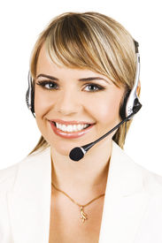 image of blonde woman  - Customer service professional with a friendly smile - JPG