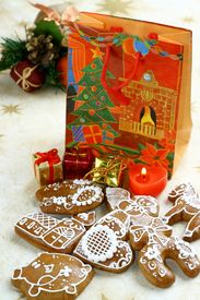 foto of x-max  - Christmas still life with  gingerbread and presents - JPG