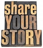 share your story phrase - isolated text in letterpress wood type