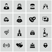 stock photo of priest  - Wedding icons set - JPG