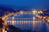 night view of Chain Bridge on the Danube river and the city of Budapest
