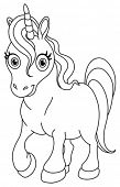 stock photo of unicorn  - Outlined cute unicorn - JPG