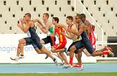 BARCELONA - JULY 10: Competitors on start of 100m of Decathlon  men during the 20th World Junior Ath