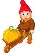 Illustration of cute Garden Gnome with wheelbarrow