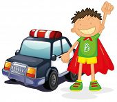 illustration of boy and car on a white