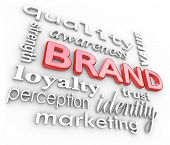 The word Brand and associated terms and phrases such as quality, loyalty, awareness, strength, perce