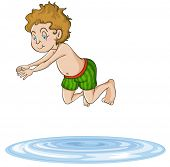 illustration of a boy diving into water on a white background
