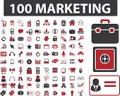 100 marketing & finance icons set, vector