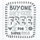 Buy One Get One Free Sketchy Notebook Doodles Discount Sale   Shopping Tag Hand-Drawn Illustration D