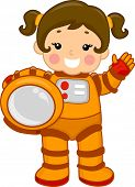 Illustration of a Young Girl Wearing a Spacesuit